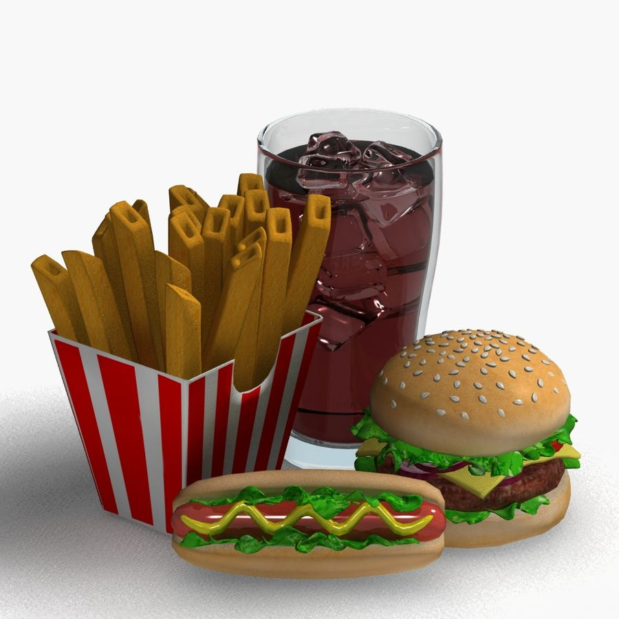 Fast food royalty-free 3d model - Preview no. 6