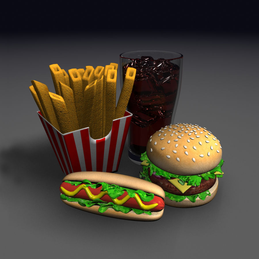 Fast food royalty-free 3d model - Preview no. 7