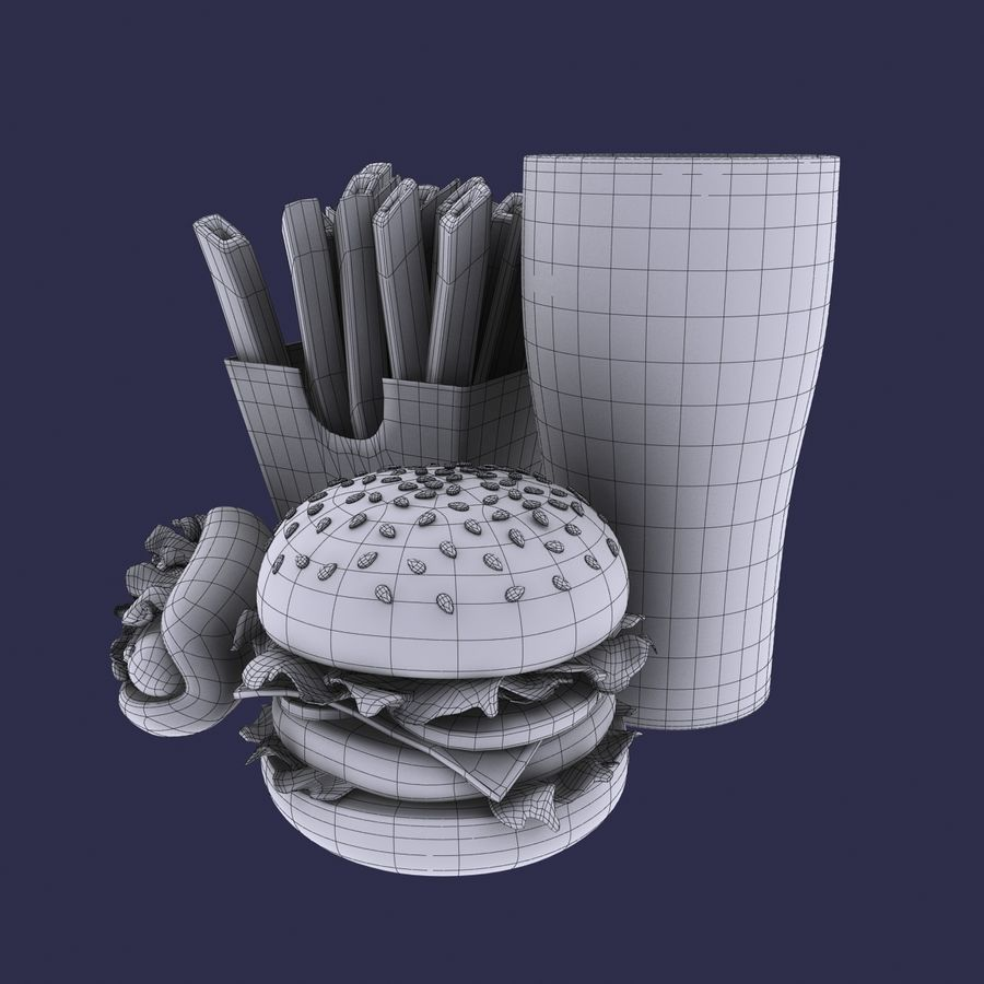 Fast food royalty-free 3d model - Preview no. 10