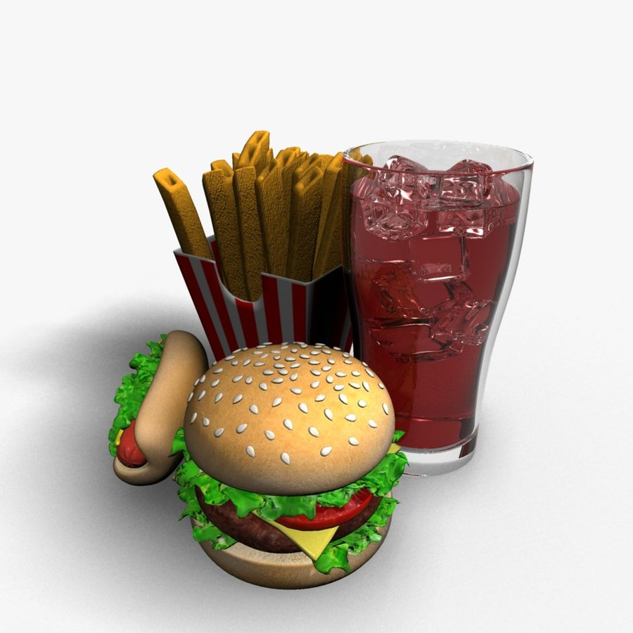 Fast food royalty-free 3d model - Preview no. 5