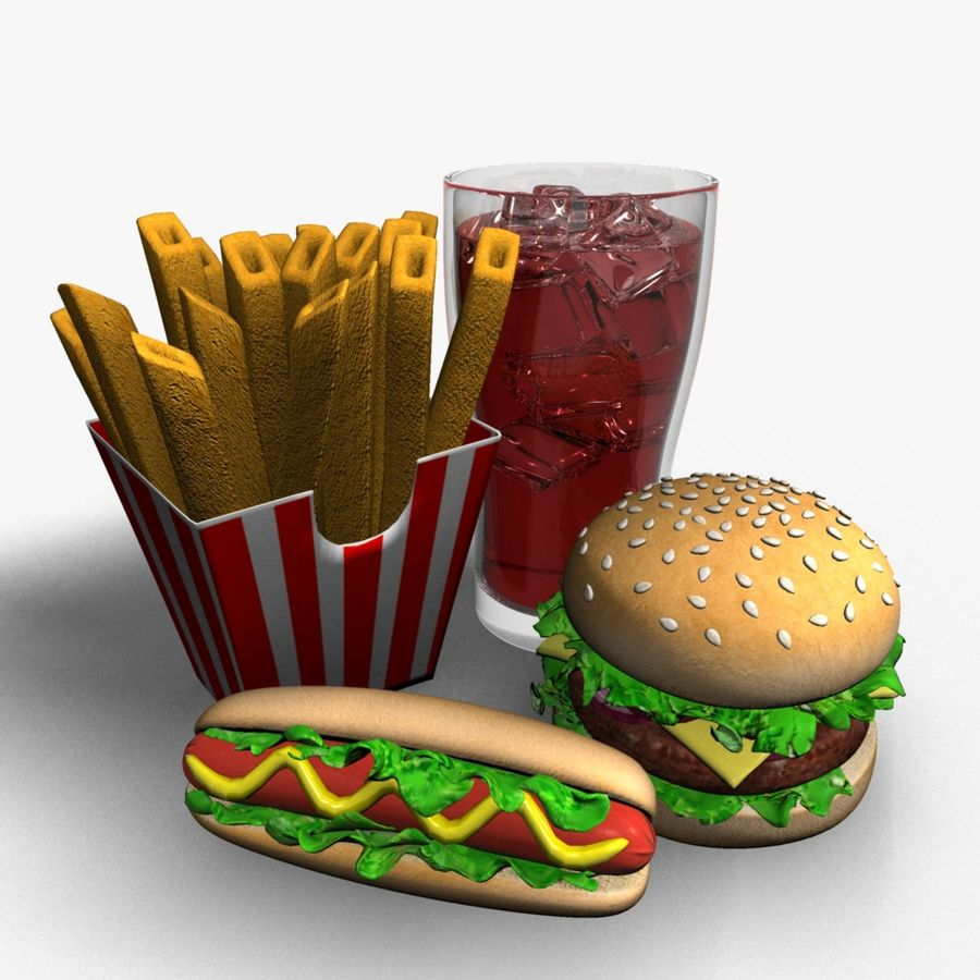 Fast food royalty-free 3d model - Preview no. 1