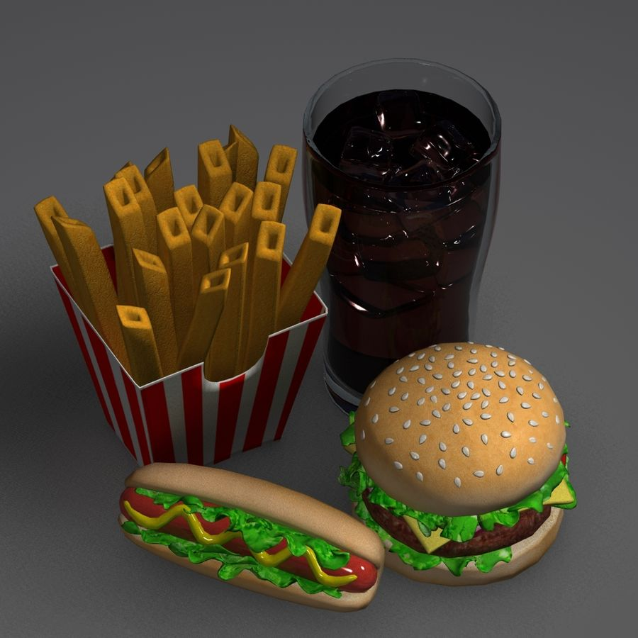 Fast food royalty-free 3d model - Preview no. 8