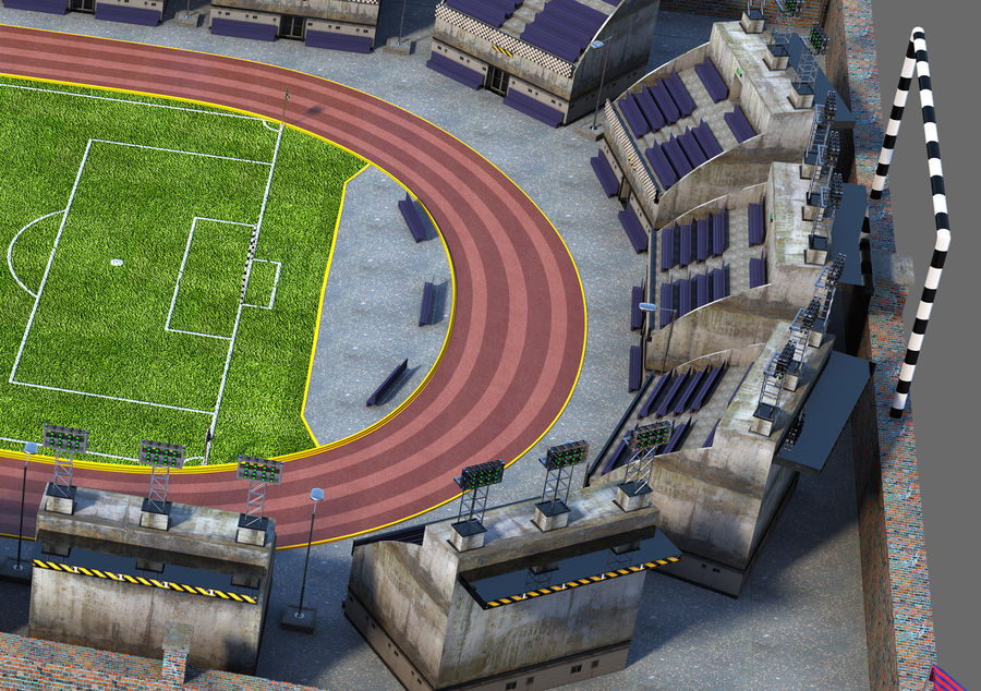 Stadion piłkarski V2 royalty-free 3d model - Preview no. 5