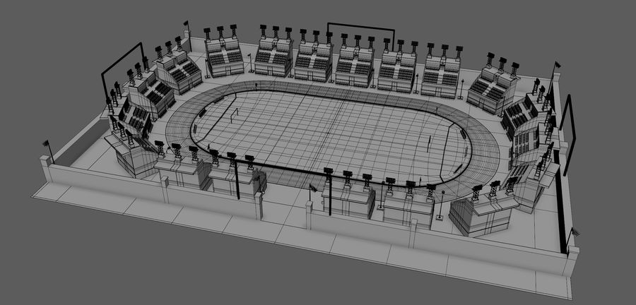 Stadion piłkarski V2 royalty-free 3d model - Preview no. 6