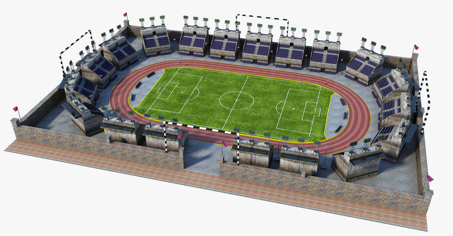 Stadion piłkarski V2 royalty-free 3d model - Preview no. 1