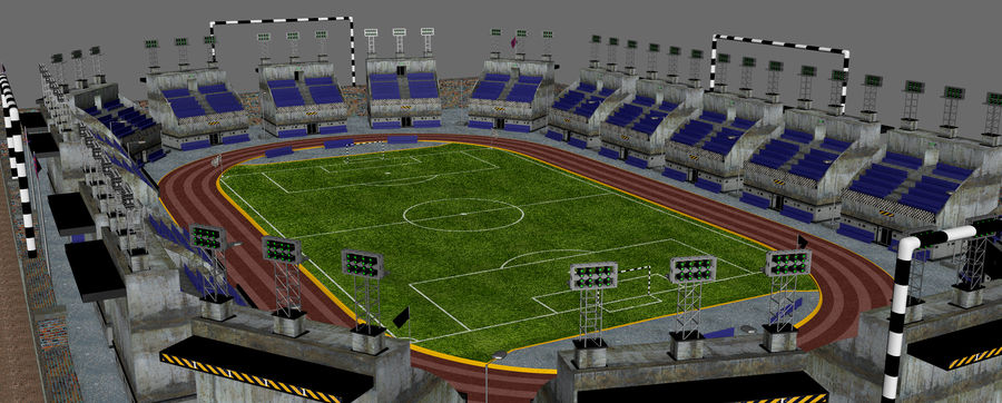 Stadion piłkarski V2 royalty-free 3d model - Preview no. 7