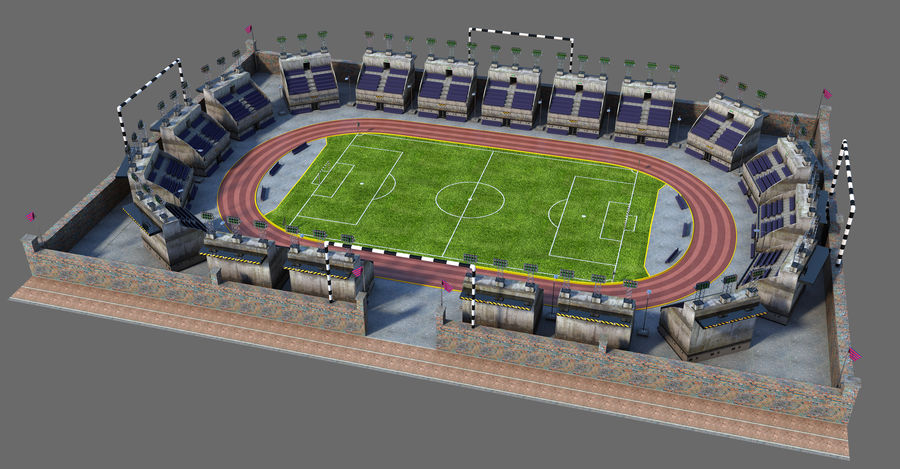 Stadion piłkarski V2 royalty-free 3d model - Preview no. 2
