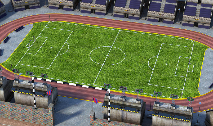 Stadion piłkarski V2 royalty-free 3d model - Preview no. 3