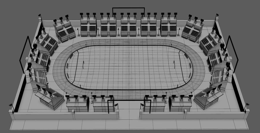 Stadion piłkarski V2 royalty-free 3d model - Preview no. 10
