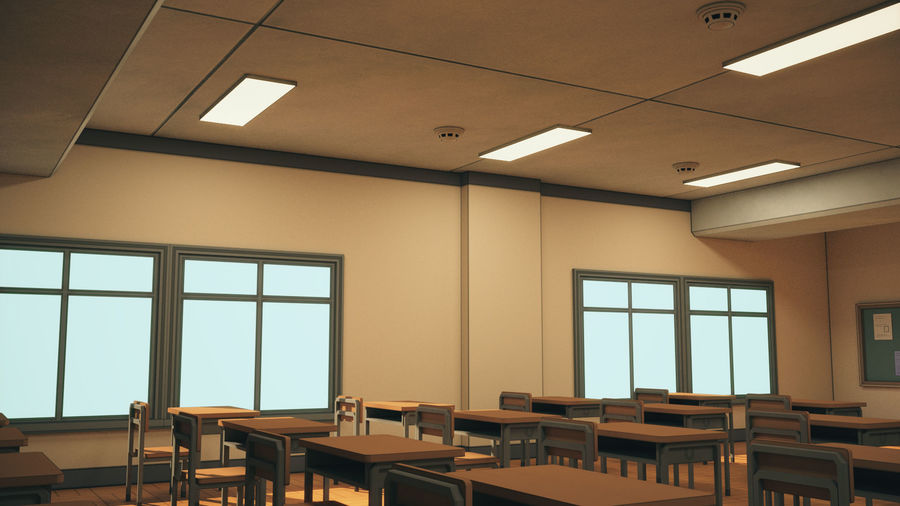Anime Classroom royalty-free 3d model - Preview no. 13