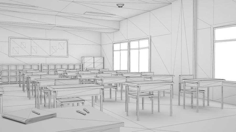 Anime Classroom royalty-free 3d model - Preview no. 10