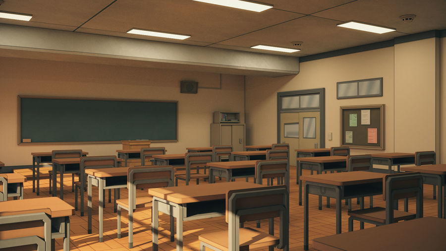 Anime Classroom royalty-free 3d model - Preview no. 5