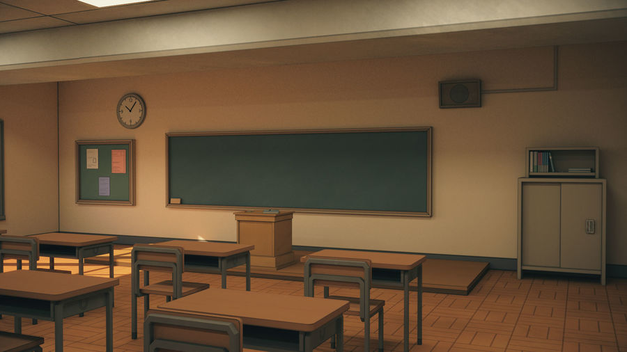 Anime Classroom royalty-free 3d model - Preview no. 3