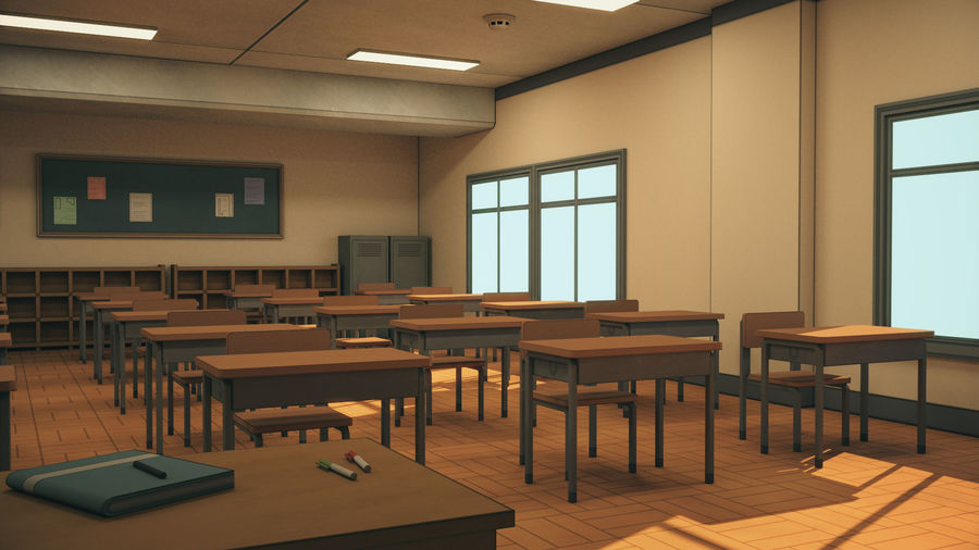 Anime Classroom royalty-free 3d model - Preview no. 9