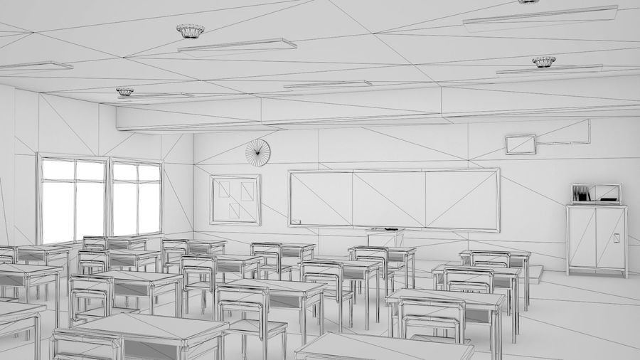 Anime Classroom royalty-free 3d model - Preview no. 2