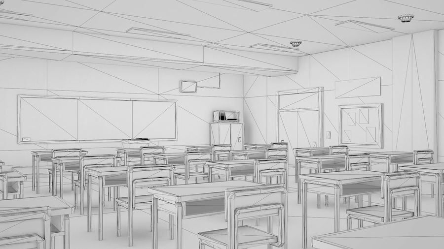 Anime Classroom royalty-free 3d model - Preview no. 6