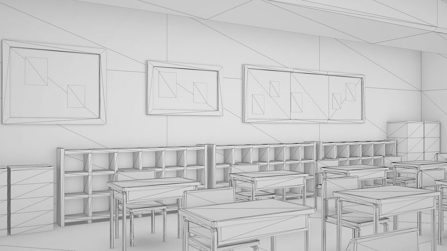 Anime Classroom royalty-free 3d model - Preview no. 12