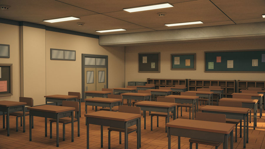 Anime Classroom royalty-free 3d model - Preview no. 7