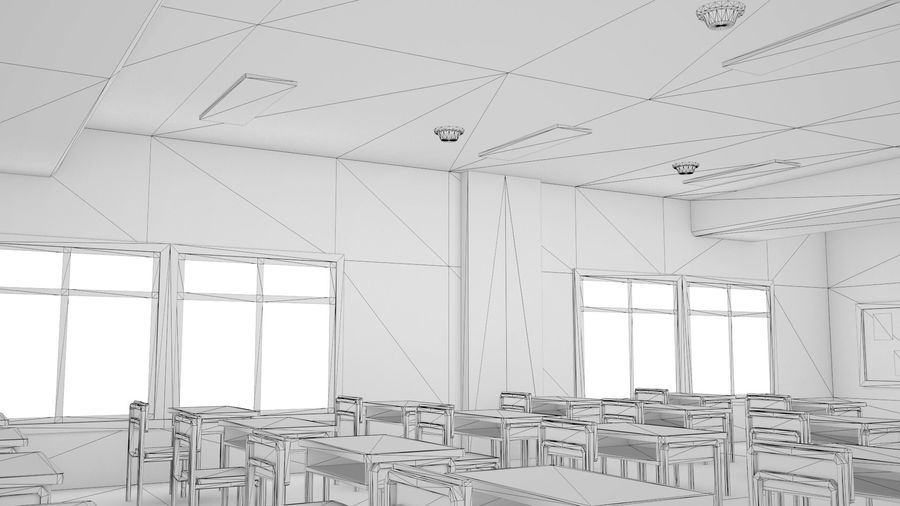 Anime Classroom royalty-free 3d model - Preview no. 14