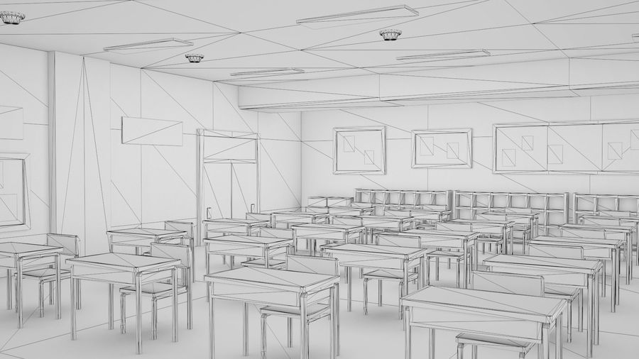 Anime Classroom royalty-free 3d model - Preview no. 8
