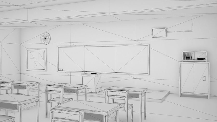Anime Classroom royalty-free 3d model - Preview no. 4