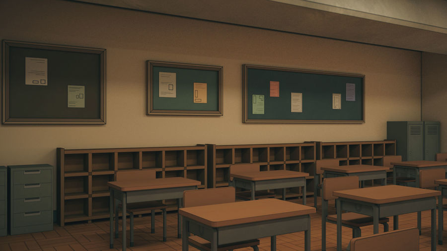 Anime Classroom royalty-free 3d model - Preview no. 11