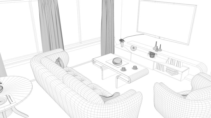Modern appartement interieur royalty-free 3d model - Preview no. 21