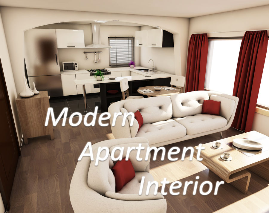 Modern appartement interieur royalty-free 3d model - Preview no. 1