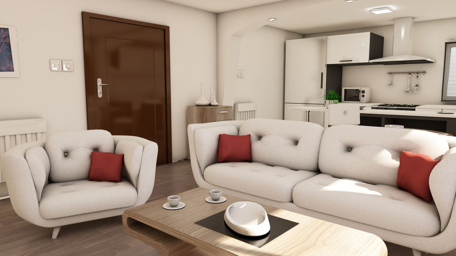 Modern appartement interieur royalty-free 3d model - Preview no. 6