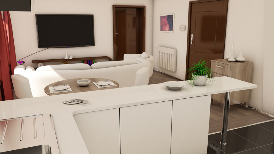 Modern appartement interieur royalty-free 3d model - Preview no. 3