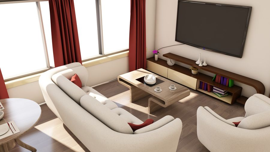 Modern appartement interieur royalty-free 3d model - Preview no. 8