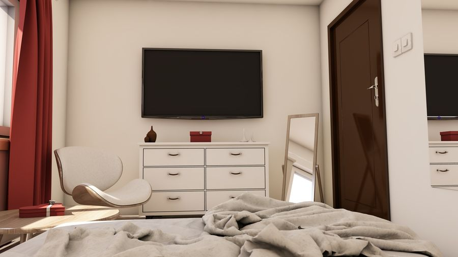 Modern appartement interieur royalty-free 3d model - Preview no. 11