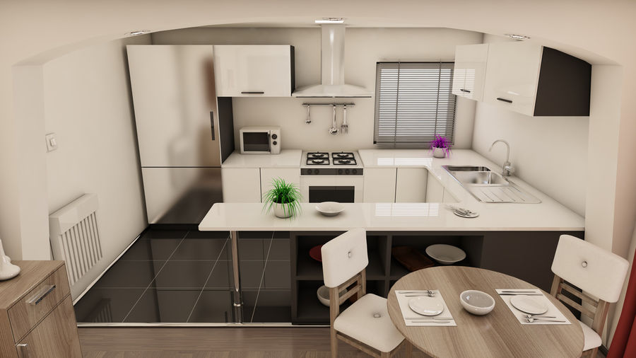 Modern appartement interieur royalty-free 3d model - Preview no. 2