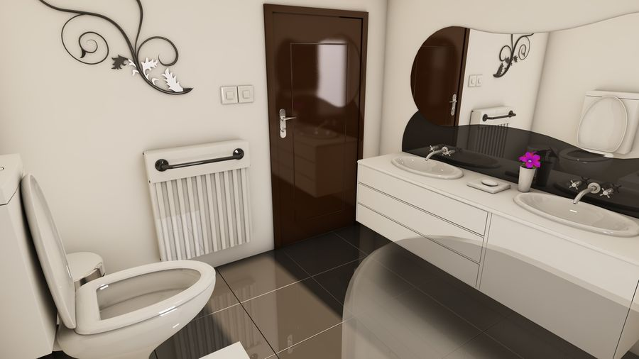 Modern appartement interieur royalty-free 3d model - Preview no. 15