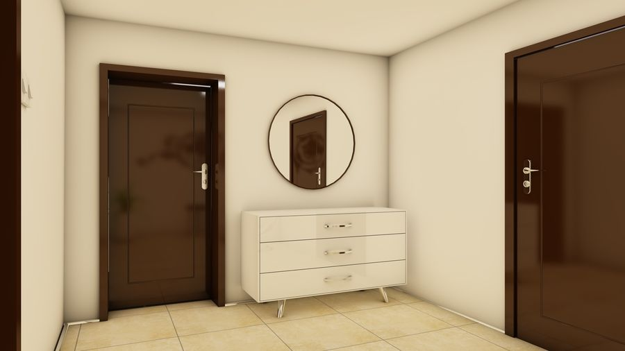 Modern appartement interieur royalty-free 3d model - Preview no. 17
