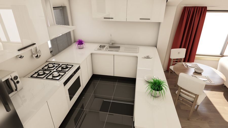 Modern appartement interieur royalty-free 3d model - Preview no. 5