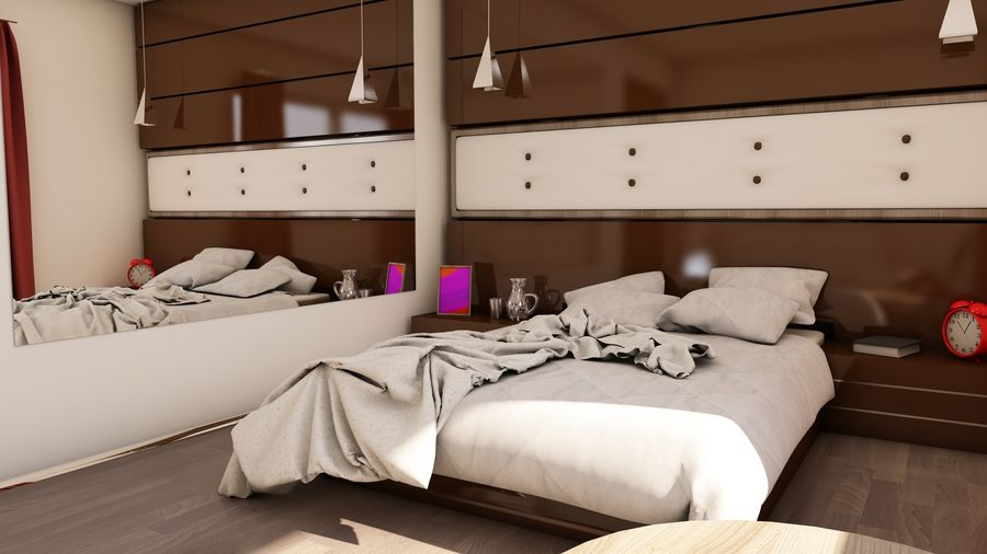 Modern appartement interieur royalty-free 3d model - Preview no. 9