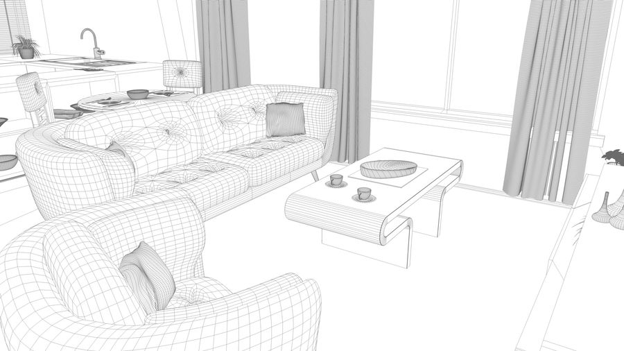Modern appartement interieur royalty-free 3d model - Preview no. 22