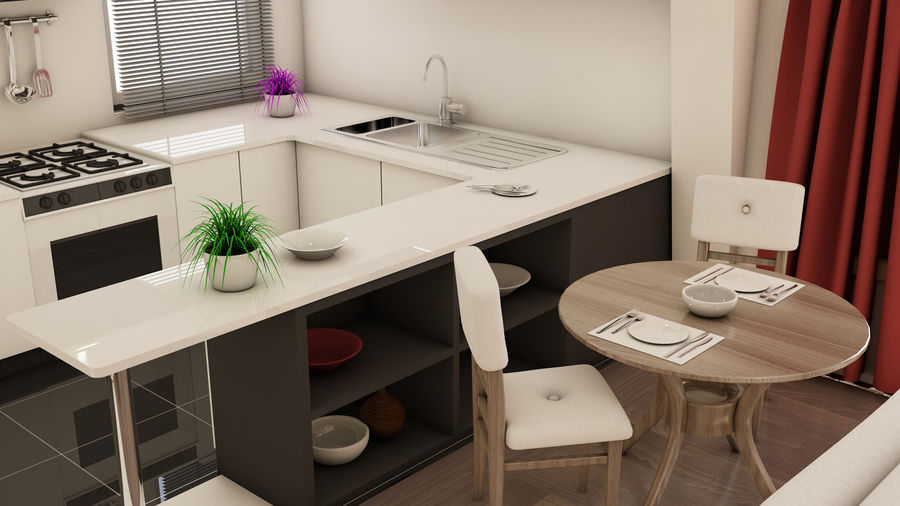 Modern appartement interieur royalty-free 3d model - Preview no. 4