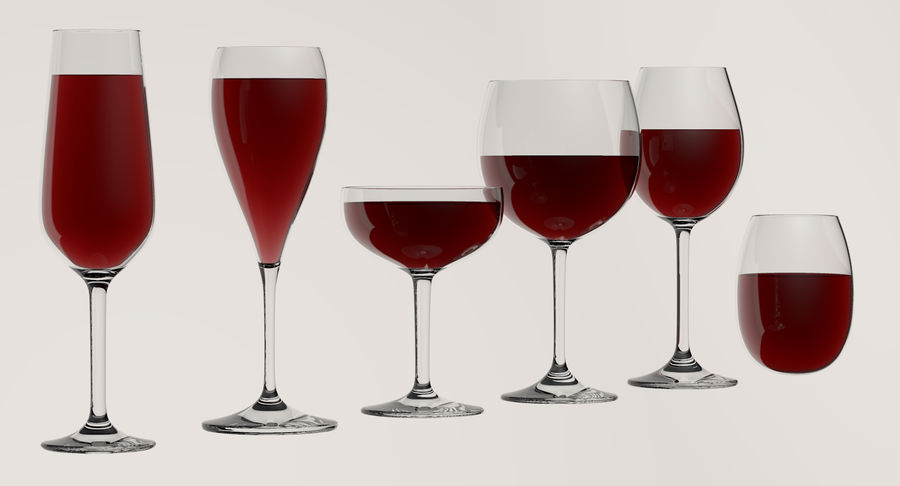 Wine Glasses royalty-free 3d model - Preview no. 2