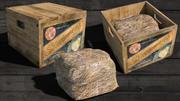 Scatola di frutta in legno vintage 3d model