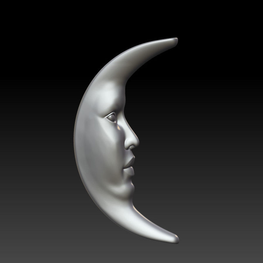 Moon with Star Pendant royalty-free 3d model - Preview no. 3
