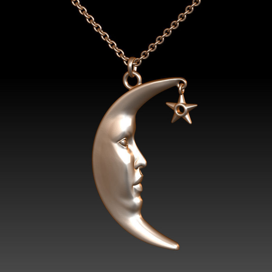 Moon with Star Pendant royalty-free 3d model - Preview no. 1