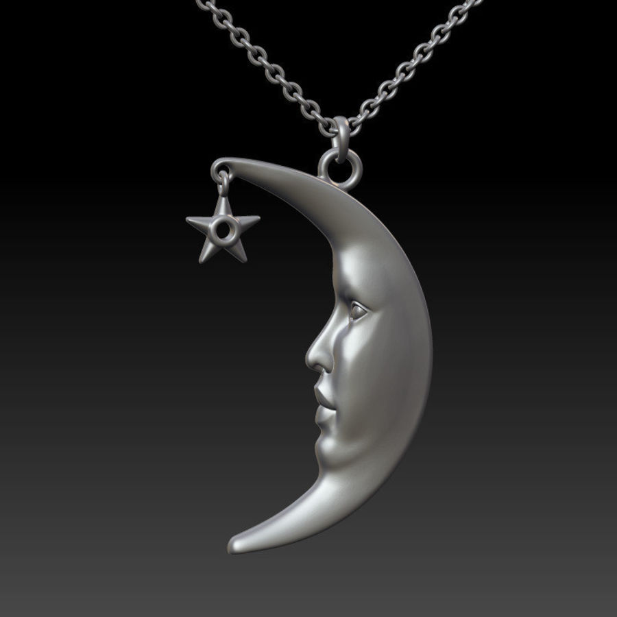 Moon with Star Pendant royalty-free 3d model - Preview no. 5