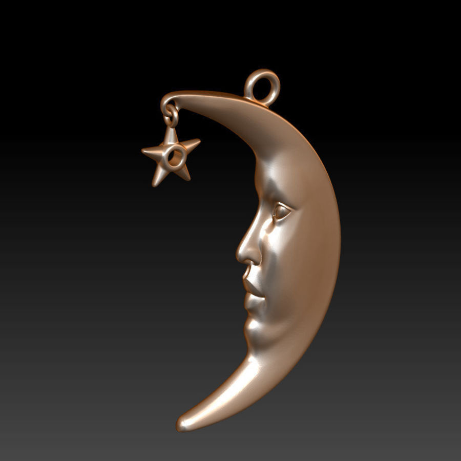Moon with Star Pendant royalty-free 3d model - Preview no. 2