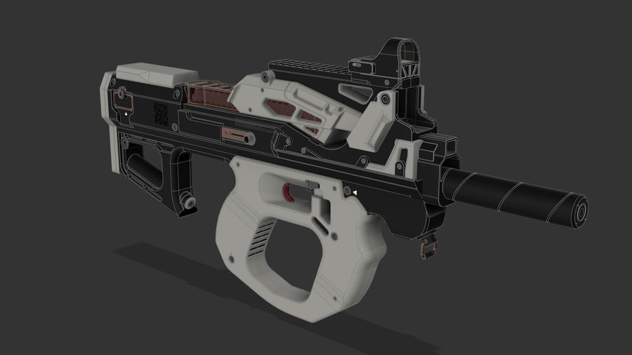 3D科幻枪 royalty-free 3d model - Preview no. 3