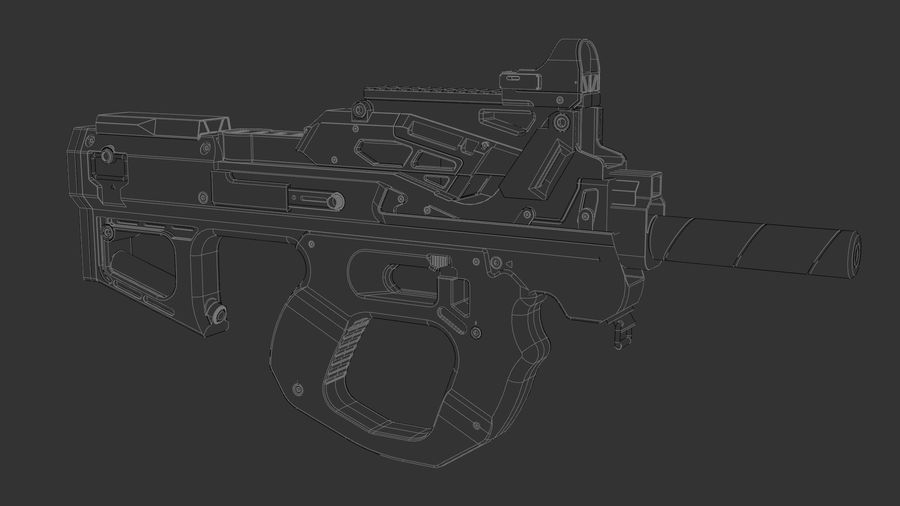 3D科幻枪 royalty-free 3d model - Preview no. 6