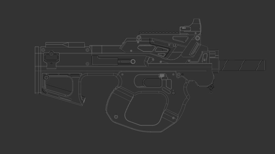 3D科幻枪 royalty-free 3d model - Preview no. 8
