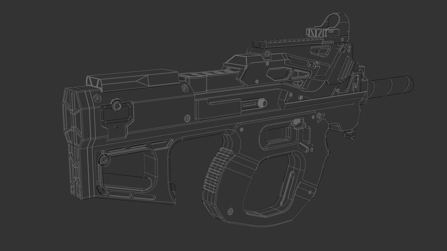 3D科幻枪 royalty-free 3d model - Preview no. 7