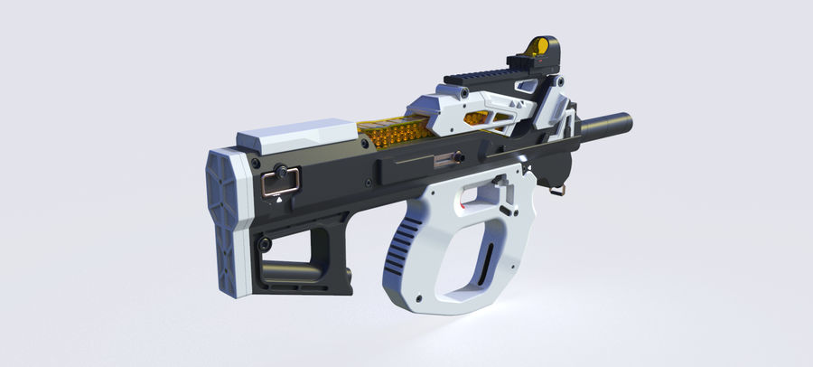 3D科幻枪 royalty-free 3d model - Preview no. 12